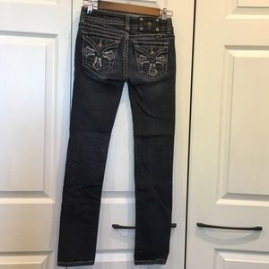 Miss Me Black Skinny Jeans w/Crosses on Pockets 26